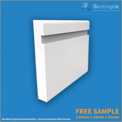 Bullnose Wide Groove Skirting Board Sample